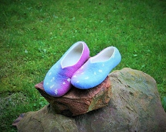 Woman slippers - women house shoes, felted slippers,  handmade, made to order - Mother's day gift