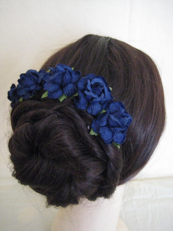 Hairpins x 5 Navy Blue Paper Roses. Bridal, Regency, Victorian.