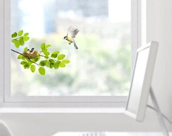 Mother and Baby Birds in a Nest Removable Window Wall Sticker