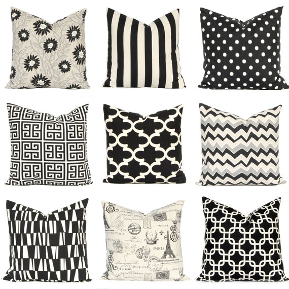 Black Euro Sham, Black Pillow Covers, Throw Pillow Covers for Decorative Pillows Cushion Covers Onyx Black and Natural 24 x 24 26 x 26