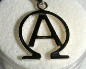 RESERVED for DMBERNDT Alpha and Omega Symbol Charm in Sterling Silver Hand Fabricated