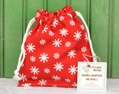 SMALL Reusable Drawstring Bag-for Toys, Gifts, Crafting or Storage in Red Christmas Snowflake