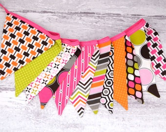 READY to SHIP! Fabric Bunting, Banner, Pennant, Flag, Photo Prop, Decoration Hot Chocolate, Pink, Lime Green, Brown, Chevron, Modern, Bright