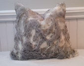 Rabbit Faux Fur Pillow Cover, 18x18, Ready to Ship, by Sew Custom Designs