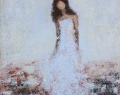 Original Figure Painting on canvas art Giving   14 x 18  x 1.5  texture Swalla Studio