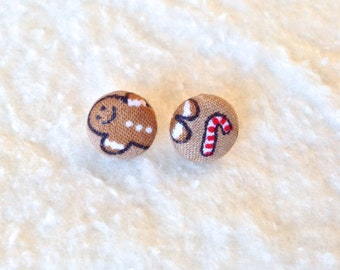 HOLIDAY EARRINGS - Gingerbread Man & Candy Candy Covered Button Stud Earrings 1/2 Inch - 12mm - Size 20