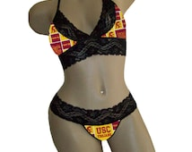 Sexy USC Trojans NCAA Lingerie Black Lace Cami Bralette Style Tie-Top and Matching G-String Panty Thong CUSTOM Sizing