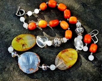 Blue Agate and Pumpkin Orange Quartzite Jewelry Set