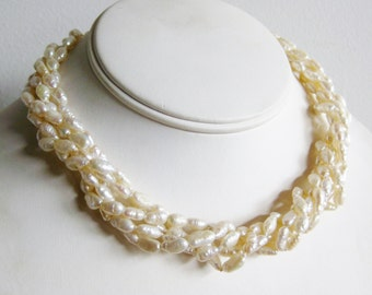 Vintage 14k Gold Freshwater Baroque Pearl Twist Collar Necklace