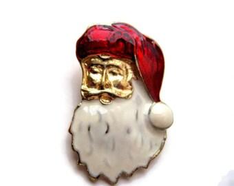 vintage santa claus brooch pin, christmas, holiday, gold plated
