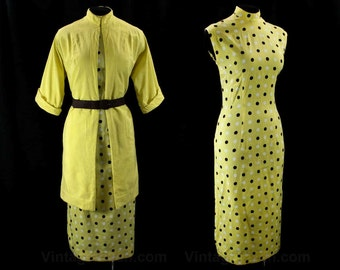 Yellow Polka Dot Dress & Jacket - SIze 9 to 10 - 1950s Two Piece Ensemble - High Collar - Bombshell Fitted Style - Summer Cotton - 42319