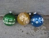 mid century stenciled christmas tree bulbs set of 3 train set drum stars mica