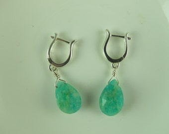 Amazonite Teardrop Dangling Earrings, European Leverback Earwires, Sterling silver, 1 1/8 in (2.5 cm)