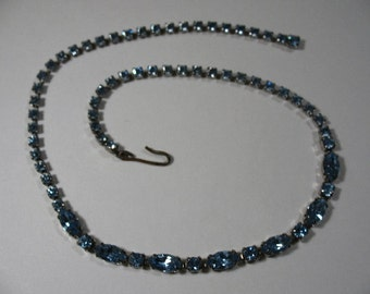 Vintage Slender Tennis-Link Necklace with Blue Rhinestones in Silver Tone Metal
