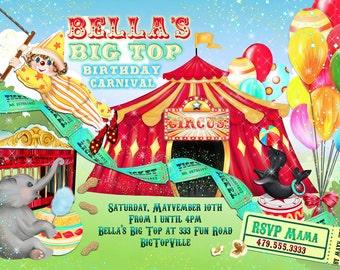 Carnival Birthday Party Invitations, Big Top Birthday Party, Party Invitations, Circus Birthday Party