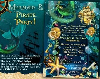Mermaid Pirate Party, Mermaid Under Sea Party Invitations, Mermaid Party, Pirate Party