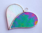"Stained Glass ornament (Love Heart) ""When Two Hearts become One"" opalescent iridescent glass"