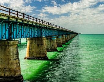Seven Mile Bridge Marathon Key Florida Florida Keys Bridge Panoramic Photography Fine Art Ocean Print