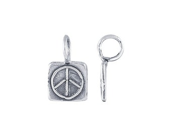 Sterling Silver Square Peace Sign Charm