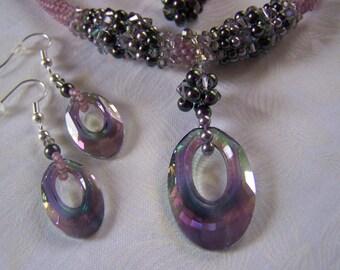 Jewelry Set Peyote Stitch Beadwoven Necklace and Earrings Tubular Peyote Rope