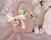 Burlap Flower girl basket. Rustic custom flower girl bag.  Shabby chic wedding accessory.