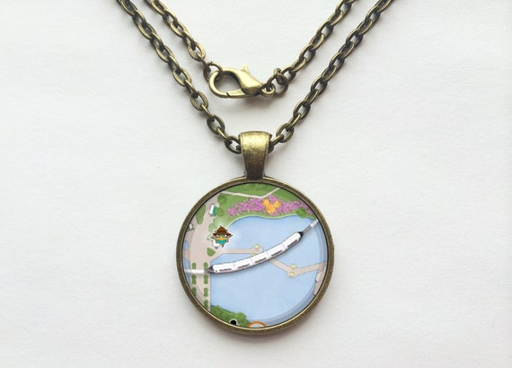 Monorail Necklace from Walt Disney World Park Map