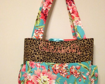 TEAL FLOWER Bouquet & LEOPARD cheetah Diaper Bag with Free Monogram