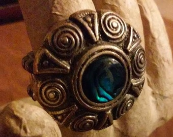 Beautiful Bright Blue Paua Shell Adjustable Ring