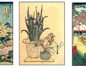 Digital  Sheet - Digital Art  - ACEO Size - Instant Download - Japanese Landscapes Backgrounds  2.5 x 3.5  2 Sheets 12 Images  ACEO 10