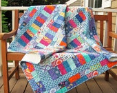 Brights and Pastels Handmade Throw or Sofa Quilt