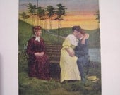 "Postcard Funny, Humor, Love: ""Two's Company -- Three's a Crowd."" Printed in England 1910s"