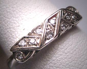 Antique Diamond Wedding Ring Band Art Deco Vintage W.G.