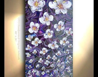Abstract Flower Waterfall contemporary purple, ultramarine blue, magenta, multicolor texture flower landscape gift art paintings plum by OTO