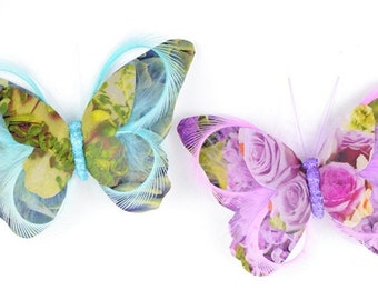 Feather Butterfly - TWO Paper and Feather Butterflies On Clips - 5 Inches - Artificial Butterfly