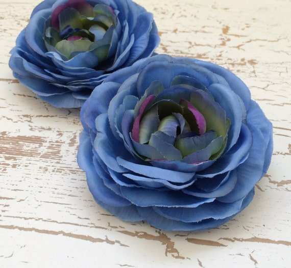Silk Flowers - Two Jumbo Blue Silk Ranunculus Flowers - 4 Inches - Artificial Flowers