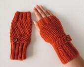 Fingerless Gloves in Burnt Orange Aran Wool