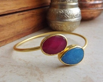 Red Blue Jade Gemstone Stackable Bangle Bracelet - 22k Matte Gold Plated