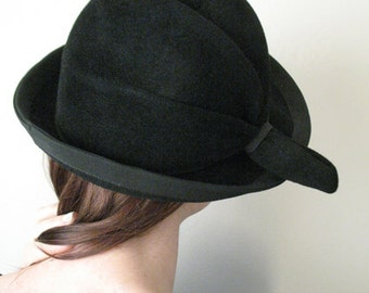 Chapeaux Motsch Pour Hermès Black Felt Hat