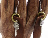 Leather Owl Dangle Earrings silver findings earring upcycled  eco friendly jewelry boho dangle earrings owl keys recycled leather  brown