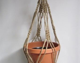 Macrame Plant Hanger Natural heavy Jute Vintage Style 28 inch