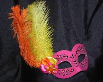 Pink, Orange and Yellow Leather Masquerade Mask