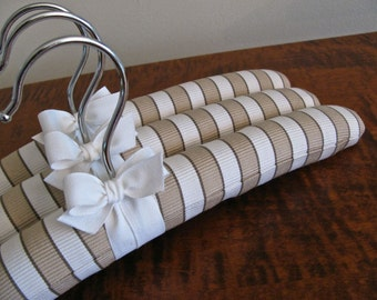"Baby Hangers, Ticking Covers Tan and White w/White Organic Ribbon, 12"" Baby Hangers, Padded Hangers Infant"