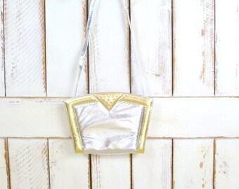 80s vintage metallic silver/gold snake print box frame leather purse/silver/ gold reptile clutch bag