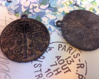 Steampunk style Aged Brass plated rustic patina large key coin disc pendants repurpose  2 pcs.