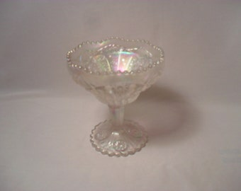 Imperial Iridescent White Carnival Glass Hobstar Style Pattern Stemmed Candy or Tip Dish