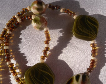 Green, Brown and Pearl, Spring and Autumn Beaded Necklace