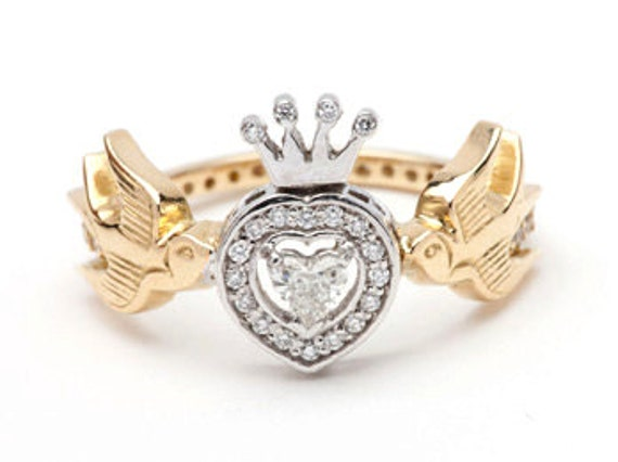 18ct Yellow and White Gold and Diamonds Swallows Heart and Crown Ring