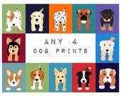 Dog prints Dog Art. Puppy nursery art prints SET OF ANY 4 prints. Baby nursery decor kids art. Wall art. Kids decor, puppy dogs by WallFry