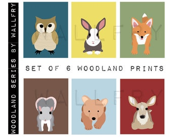 Children spring woodland animal prints. Kids wall art, forest nursery art. Owl print. SET of 6 woodland prints by WallFry