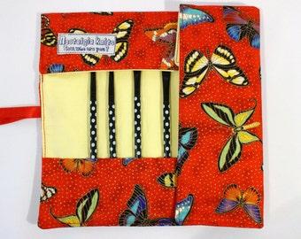 Make up brush roll- red butterfly butterflies, UK shop